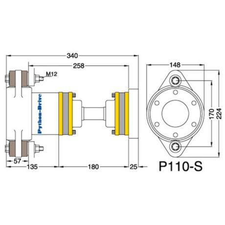 P110-S_mitat P110-S - Python-Drive -nivelyksikkö